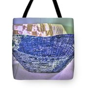 Blue Woven Basket Tote Bag