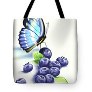 Blueberries And Butterfly Tote Bag