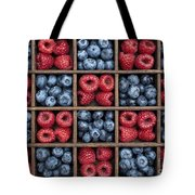 Blueberries And Raspberries  Tote Bag by Tim Gainey