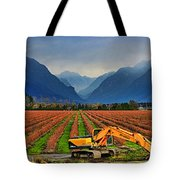 Blueberry Field Excavator Tote Bag