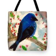 Bluebird Amid Apple Blossoms Tote Bag