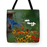 Bluebird And Colorful Flowers Tote Bag