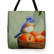 Bluebird And Peaches Greeting Card 3 Tote Bag