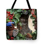 Bluebird Christmas Wreath Tote Bag