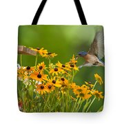 Bluebird Flying Over The Black Eyed Susans Tote Bag