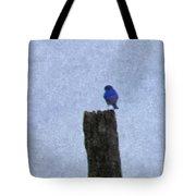 Bluebird On A Fencepost Tote Bag