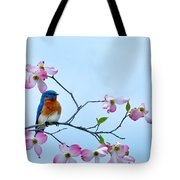 Bluebird Visits Red Dogwood Tote Bag