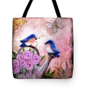 Bluebirds And Butterflies Tote Bag