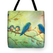 Bluebirds On Branches Tote Bag
