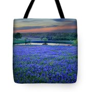 Bluebonnet Lake Vista Texas Sunset - Wildflowers Landscape Flowers Pond Tote Bag