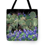 Bluebonnets And Cacti Tote Bag