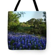 Bluebonnets By The Pond Tote Bag