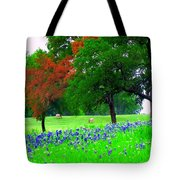 Bluebonnets With Red Flourish  Tote Bag