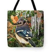 Bluejay And Ice Tote Bag
