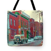 Blues And Brick Houses Winter Street Suburban Scenes The Point Sud Ouest Montreal Art Carole Spandau Tote Bag
