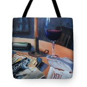 Blues And Wine Tote Bag by Donna Tuten