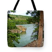 Bluff Over The River In Five Finger Rapids Recreation Site Along Klondike Hwy-yt  Tote Bag