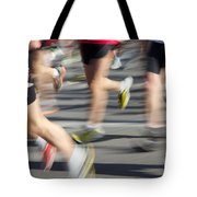 Blurred Marathon Runners Tote Bag