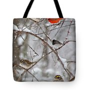 Blushing Red Cardinal In The Snow Tote Bag
