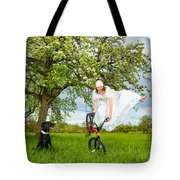 Bmx Flatland Bride Jumps In Spring Meadow Tote Bag