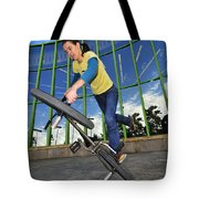 Bmx Flatland - Monika Hinz Riding On Rear Wheel Tote Bag