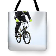 Bmx Racer Goes Airborne Tote Bag