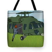 Boarding A Helicopter Tote Bag