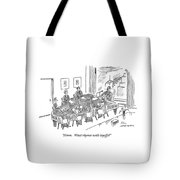Boardroom With Boss Speaking At Piano Shaped Tote Bag