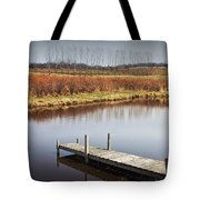 Boat Dock On A Pond In South West Michigan Tote Bag