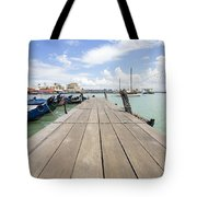Boat Dock On Jetty In Penang Tote Bag