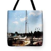 Boat - Docked Cabin Cruiser Tote Bag