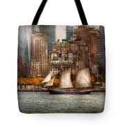 Boat - Governors Island Ny - Lower Manhattan Tote Bag by Mike Savad