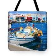 Boat In Greece Tote Bag