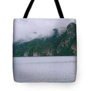 Boat In The Mist Tote Bag