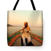 Boat Man On The Ganges River At Varanasi Tote Bag