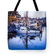 Boat Mast Reflection In Blue Ocean At Dock Morro Bay Marina Fine Art Photography Print Tote Bag