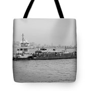 Boat Meet Barge In Black And White Tote Bag