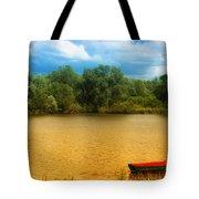 Boat On A Golden Pond Tote Bag