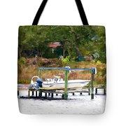 Boat On Dock Tote Bag