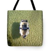 Boat On Ocean Tote Bag by Pixel Chimp