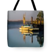 Boat On The Creek Tote Bag