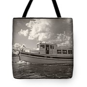 Boat On The Water Tote Bag
