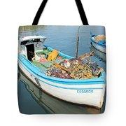 Boat Reflected In Sozopol Harbour Tote Bag
