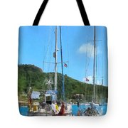 Boat - Relaxing At The Dock Tote Bag