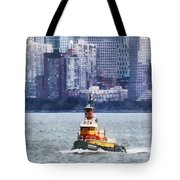 Boat - Tugboat By Manhattan Skyline Tote Bag