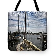 Boat Under The Clouds Tote Bag