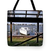 Boat View Under The Stairway Tote Bag