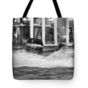 Boat Wake Black And White Tote Bag