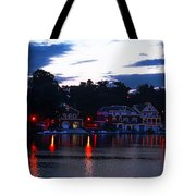 Boathouse Row Along The Schuylkill River At Dawn Tote Bag