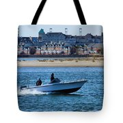 Boating In New York Harbor Tote Bag by Dan Sproul